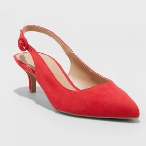 A New Day Red Faux Suede Closed-Toe Kitten Heels